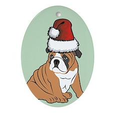 Bulldog Puppy Christmas Oval Ornament