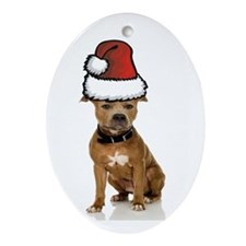 Pit Bull Christmas Oval Ornament