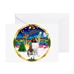 XmasMusic 3/ St Bernard #1 Greeting Cards (Pk of 2