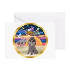 XmasStar/Silver Poodle #8 Greeting Card