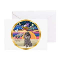 XmasStar/Silver Poodle #8 Greeting Cards (Pk of 10