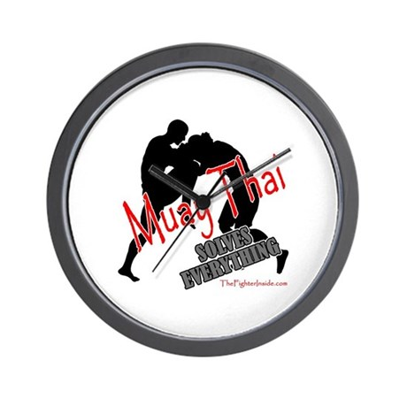 Muay Thai Solves Everything Wall Clock