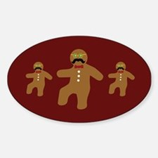 Gingerbread Man Disguise Oval Decal