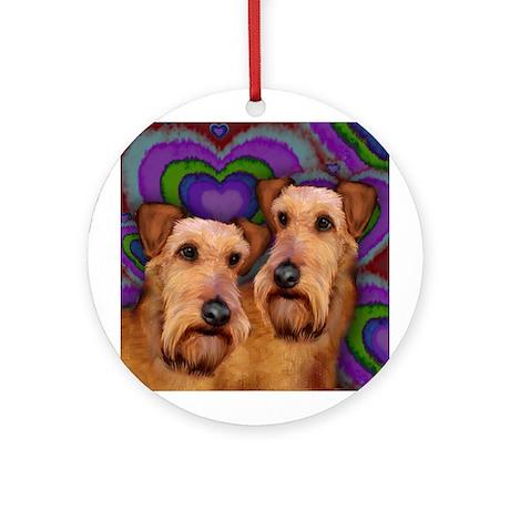 IRISH TERRIER DOGS LOVE Ornament (Round)