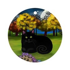 BLACK CAT FALL MOON Ornament (Round)
