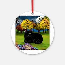 BLACK CAT FALL MOON Ornament (Round)