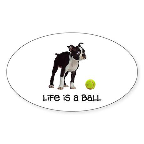 Boston Terrier Life Oval Sticker