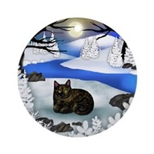 TORTOISESHELL CAT FROZEN RIVER Ornament (Round)