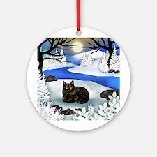 TORTOISESHELL CAT FROZEN RIVER Ornament (Round)