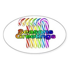 seasons greetings candy canes Oval Decal