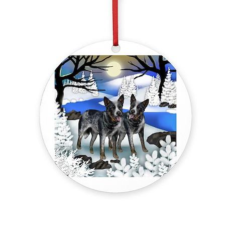 AUSTRALIAN CATTLE DOGS WINTER Ornament (Round)