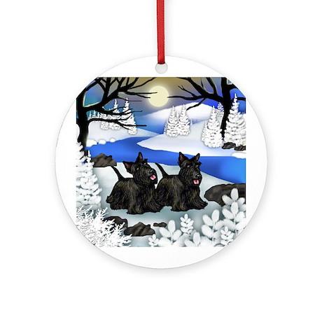 SCOTTISH TERRIER DOGS WINTER Ornament (Round)