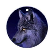 Wolf Yule Tree Ornament (Round)