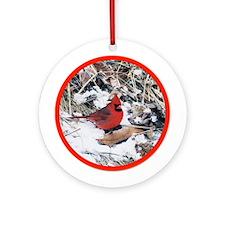 Snowy Red Cardinal Bird Yule Tree Ornament (Round)