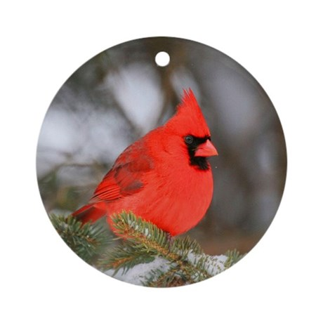 christmas red cardinal bird tree ornament round by mywiccanway. Black Bedroom Furniture Sets. Home Design Ideas
