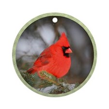 Red Cardinal Bird Winter Tree Ornament (Round)
