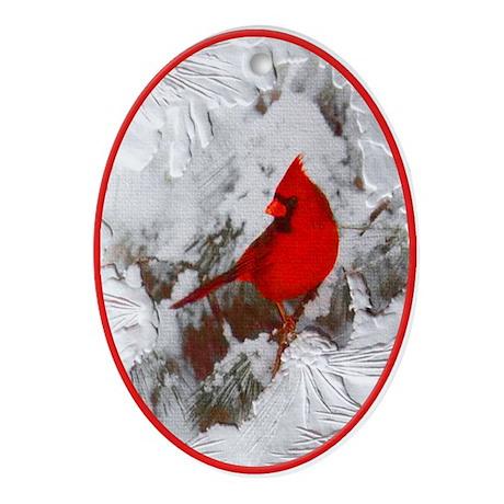 Red Cardinal Bird Snowy Yule Tree Oval Ornament