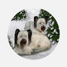 SKY TERRIER DOGS WINTER FOREST Ornament (Round)