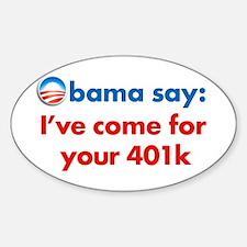 obama 401k Oval Decal