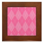 Pink Argyle Framed Tile