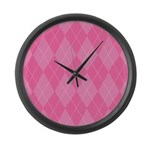 Pink Argyle Large Wall Clock