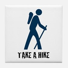 Take A Hike Blue Tile Coaster