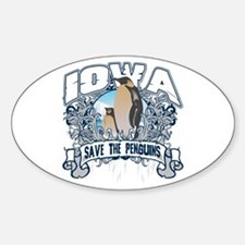 Save the Penguins Iowa Oval Decal