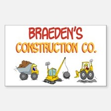 Braeden's Construction Tracto Rectangle Decal