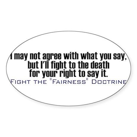 Fight the Fairness Doctrine Oval Sticker