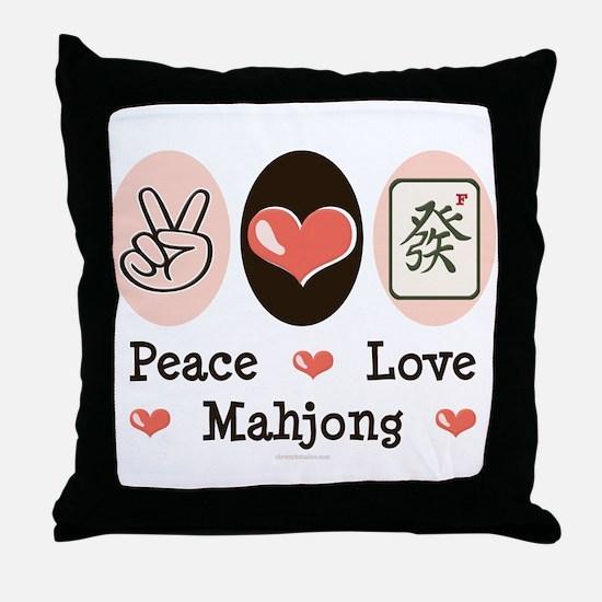 Peace Love Mahjong Throw Pillow