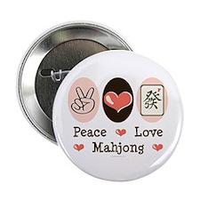"Peace Love Mahjong 2.25"" Button"