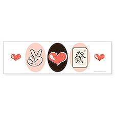 Peace Love Mahjong Bumper Bumper Sticker