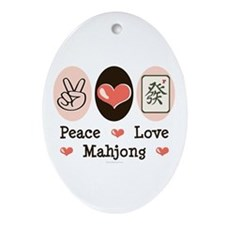 Peace Love Mahjong Oval Ornament