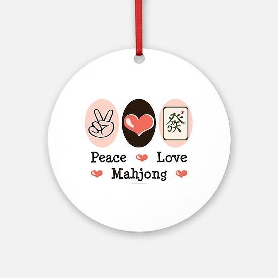 Peace Love Mahjong Ornament (Round)