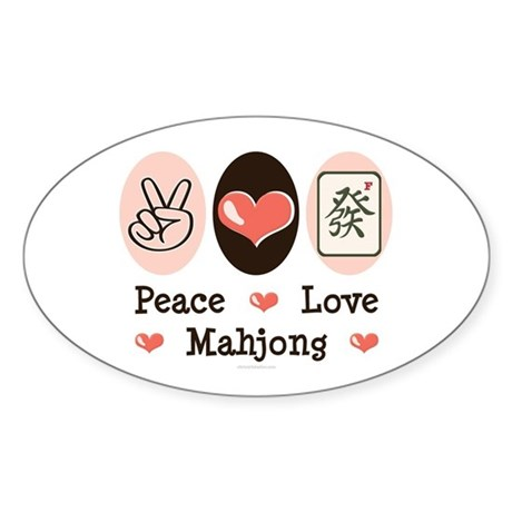 Peace Love Mahjong Oval Sticker