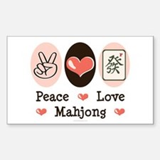 Peace Love Mahjong Rectangle Decal