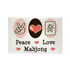 Peace Love Mahjong Rectangle Magnet