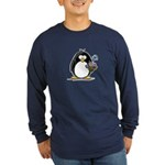 Penguin with Flower Bouquet Long Sleeve Dark T-Shi