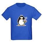 Penguin with Flower Bouquet Kids Dark T-Shirt