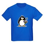 Penguin with Flower Bouquet Kids Dark T-Shirt
