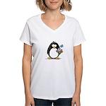 Penguin with Flower Bouquet Women's V-Neck T-Shirt