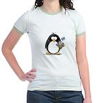 Penguin with Flower Bouquet Jr. Ringer T-Shirt