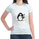 Penguin with Flower Bouquet Jr. Ringer T-Shirt