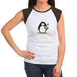 Penguin with Flower Bouquet Women's Cap Sleeve T-S