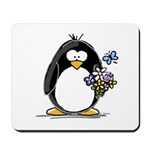 Penguin with Flower Bouquet Mousepad
