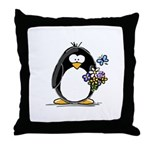 Penguin with Flower Bouquet Throw Pillow