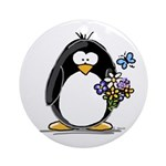 Penguin with Flower Bouquet Ornament (Round)
