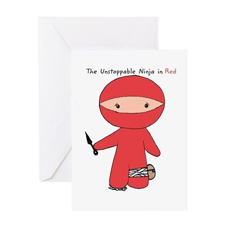 The Unstoppable Ninja in Red Greeting Cards