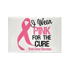 I Wear Pink For The Cure Rectangle Magnet (10 pack