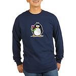 Penguin with a Tulip Long Sleeve Dark T-Shirt